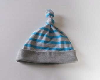 Grey and Teal Striped Top Knot Jersey Knit Baby Hat For Boy or Girl, Beanie Baby Hat, Boy Baby Hat, Girl Baby Hat, Infant Hat, Newborn Hat