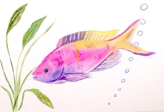 ORIGINAL Tropical Fish Watercolor Fish Art Watercolor Fish