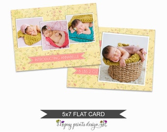 Birth Announcement Card Template - 5x7 Digital Photography Photoshop File - Template for Photographers - NC16 - INSTANT DOWNLOAD