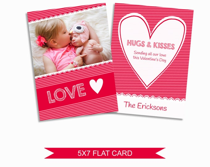 Valentine's Day Card Template - 5x7 Digital Photography Photoshop Files - Template for Photographers - VDC03 - INSTANT DOWNLOAD