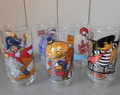 SALE - Complete set of 6 collectable vintage 1977 Mc Donalds tumblers / high ball water glasses. Promo glass. Retro 70s Drinkware