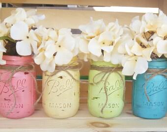 Painted Mason Jars Wedding Vases Rustic Chalkpaint Pint Jar Set of Four
