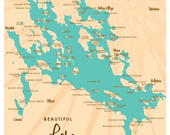 Lake Winnipesaukee, NH Map Print