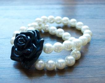 Faux Pearl & Black Rose Bracelet