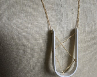 Long U-Pen, modern, industrial, art pendant necklace