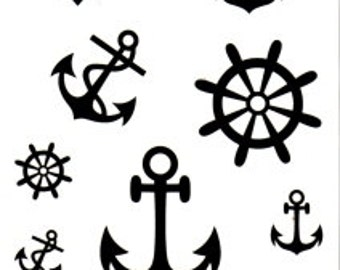 Waterproof Temporary Tattoos Transfer Anchor Rudder Celebrity Pirate Nautical Sailor Art