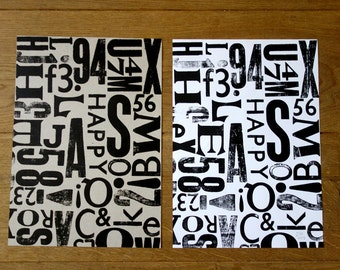 A4 poster, letter composition, letterpress