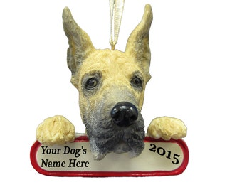 Fawn Great Dane Ornament With Personalized Name Plate A Great Gift For Great Dane Lovers
