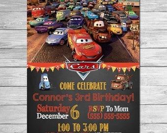 Disney Cars Invitation Chalkboard - Lightning McQueen Birthday Invitation - Disney Cars Printables - Cars Party Favors