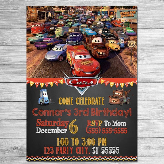 Disney Cars Invitation Chalkboard - Lightning McQueen Birthday Invitation - Disney Cars Printables - Cars Party Favors