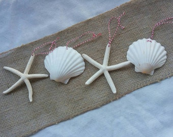 Starfish Ornament, Seashell Ornament, SET OF 4, 4in Beach Christmas Ornaments, Starfish Christmas Ornaments