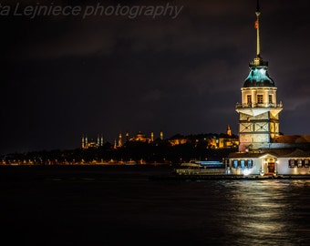 Digital photography for download. City landscape. Night image. Istanbul digital photo.