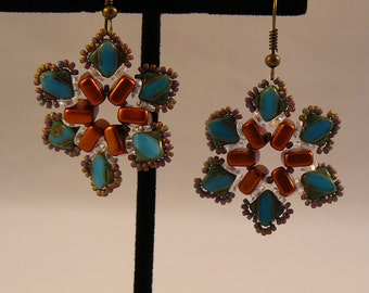 Hand Beaded Flower Blossom Earrings