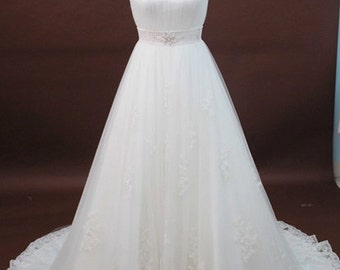 Vertical Ruched Wedding Dress, A-Line Silhouette, Waistline Embellishments, Back Key Hole, Train