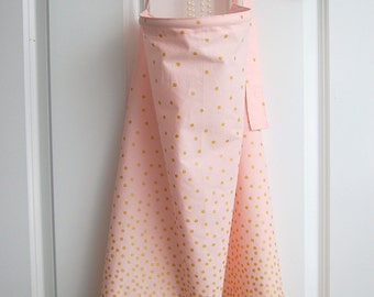 Light Pink and Gold Polka Dotted Bottom Nursing Cover