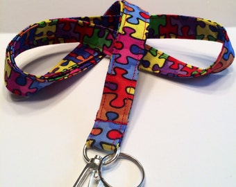 Puzzle Piece Lanyard. ID Badge Holder. Autism Awareness.