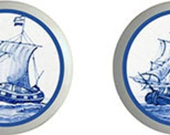 Blue Delft Sailing Ships Ceramic Knobs   Set of 4