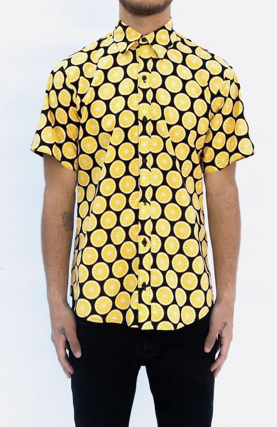 Items similar to lemon print mens short sleeve button up for Lemon button