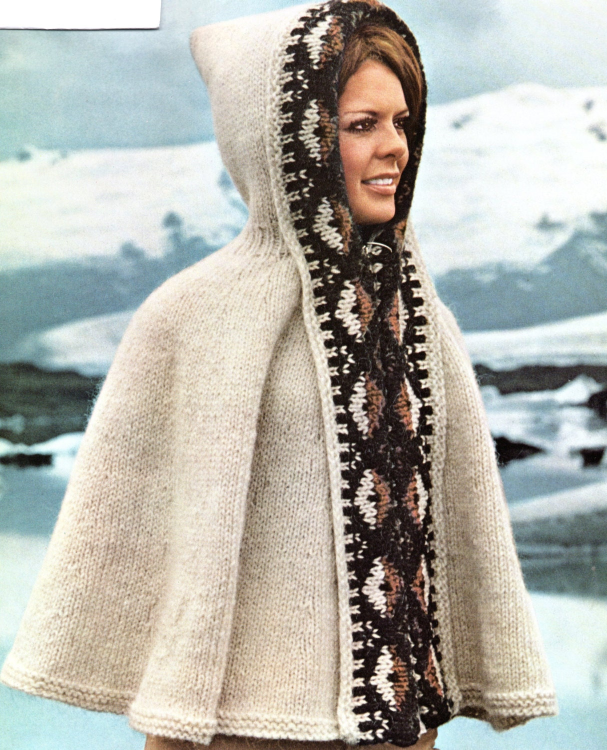 Poncho cape with hood knitting pattern hooded southwest cape zoom bankloansurffo Gallery