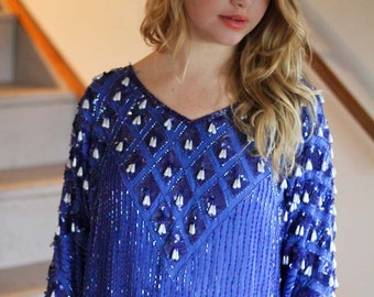 Vintage Silk Blouse with Beaded Sequined Embellishment