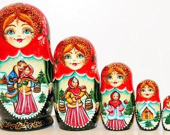 Nesting doll Matryoshka Russian dolls - Behind water - babushka kod230