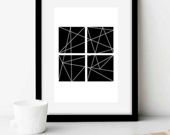 Geometric Four Square Art Print (geometric, line, pattern, black and white, digital print, unframed, instant download)