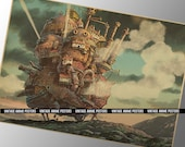 60x42cm Howl's Moving Castle Vintage Style Poster - Studio Ghibli Movie Poster - Hayao Miyazaki Animation Film Wall Print