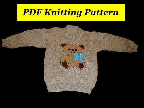 Knitting Pattern Bear Jumper : Childrens & Adults Teddy Bear Jumper / Sweater Knitting