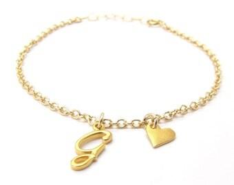 Initial & Heart Charm Bracelet