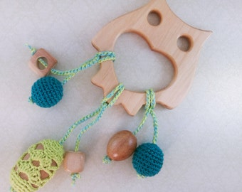Wooden Owl toy - Wooden Teether - modern baby toy - natural wood teether - wooden toy - eco friendly toy - organic toys - animal toys wooden