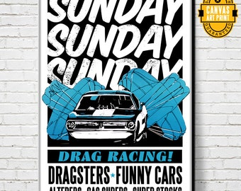 Car Art - Drag Races - Canvas Art Print, Auto Art, vintage advertising poster, Automobile Art, Man Cave Art, Car Gift, Garage Art