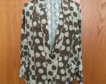 90s Menswear-Inspired Avante Garde Striped/Polka Dot Oversized Blazer