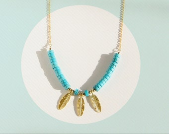 statement necklace, beaded necklace, turquoise necklace, feather necklace, native american necklace