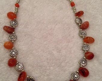 Genuine Carnelian beaded necklace handmade