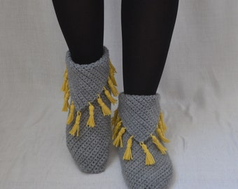 Crochet Gray Slippers with Mustard Yellow Tassel, Gray Home Boots, Gray Home Shoes, Gray Socks, Winter Fashion, Women Accessories