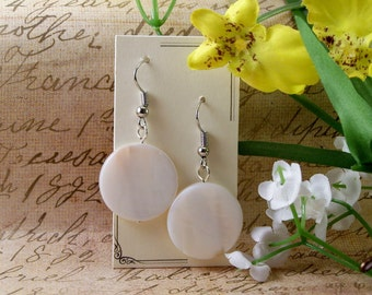 Flat White Dangle Earrings