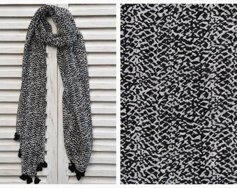 SALE 50% OFF Black and White Scarf, Long chiffon scarf, Black print scarf, Fashion scarf, Summer Scarves, Valentines Day Gift