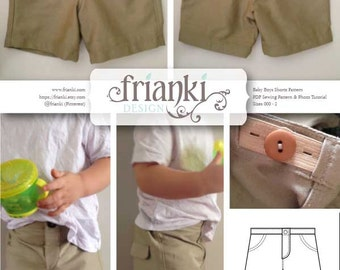 Baby Boy Shorts - PDF Sewing Pattern and Photo Tutorial - Sizes 000 to 2 - Instant Download - Kids Toddler Child Easy Sew Pattern