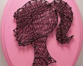 Girl cameo string art. Barbie inspired wall art. Pink and black. Little girls room.