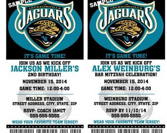 Printable Birthday Party Invitation Card Jacksonville Jaguars Birthday Ticket Invitation Football Weddings Baby Showers Bar Mitzvahs