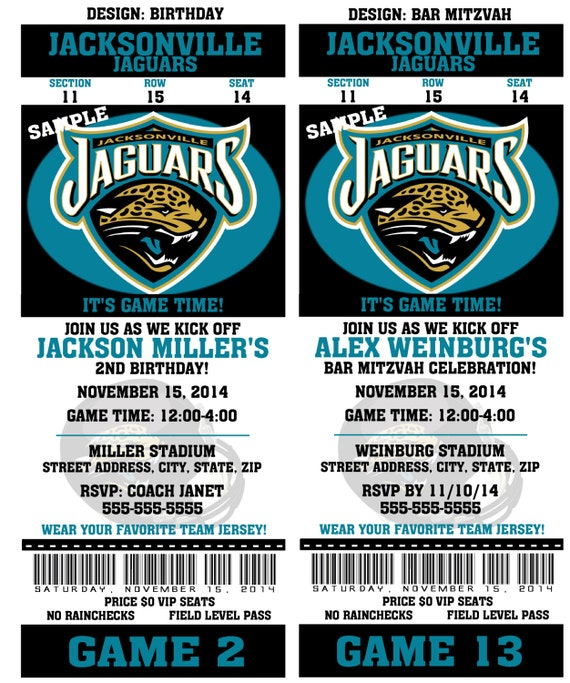 birthday party invitation card jacksonville jaguars birthday ticket. Cars Review. Best American Auto & Cars Review