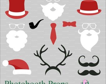 Christmas Santa Claus beard mustache photobooth props digital die cutting Xmas Noel silhouette cameo