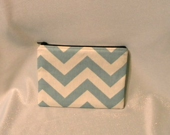 Blue Chevron Zipper Pouch