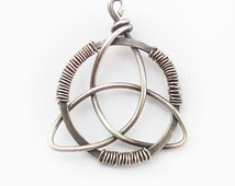 Celtic Triquetra pendant, wire wrapped sterling silverm Celtic knotwork pendant, wicca pendant