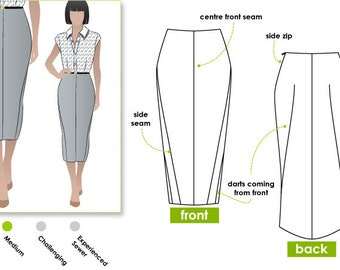 Zoe Pencil Skirt Sewing Pattern // Sizes 10, 12 & 14 // PDF sewing pattern for instant download