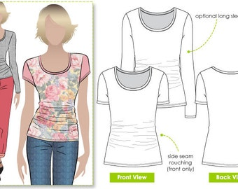 Ann T-Top - Sizes 10, 12, 14 - Women's T-Shirt PDF Sewing Pattern by Style Arc - Sewing Project - Digital Pattern