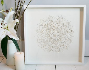 Wedding Gift. Laser cut Paper Chakra Collage. Framed Wedding Gift. Framed Paper Art.