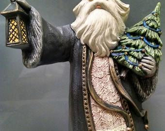 SALE!!!    Saint Nicholas -- Heirloom-quality handpainted ceramic Santa -- Christmas mantel decor