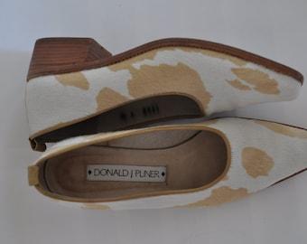 Cow Hide · Low Heel Pumps · Spanish Wood Heel · Donald J Pliner · Ponyhair Cowhide 7