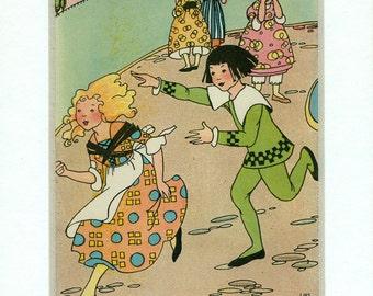 Vintage 1920 Mother Goose Book Plate Lois Lenski Illustration - Georgie Porgie - Nursery Rhyme - Matted